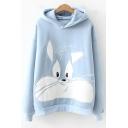 Cute Cartoon Rabbit Pattern Long Sleeve Colorblock Hoodie