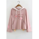 Cute Heart Ribbon Letter GIVE YOU ALL MY LOVE Printed Long Sleeve Pink Hoodie