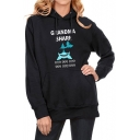 Hot Popular Long Sleeve Letter Cartoon Shark Printed Black Hoodie