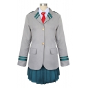 Lovely Cosplay Costume Stripes Printed Notched Lapel Collar Single Breasted Coat Mini A-Line Skirt Gray Co-ords