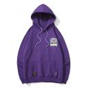 Hip Hop Style Long Sleeve Patch Loose Hoodie with Kangaroo Pocket