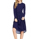 Leisure Long Sleeve Round Neck Polka Dot Printed Midi A-Line Dress
