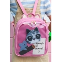Lovely Cartoon Pattern Cat Ear Design Basic Candy Color Backpack for Girls