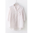 V-Neck Three-Quarter Sleeve Striped Pattern Single Pocket Chest High Low Hem Button Front Shirt