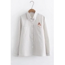 Cute Cartoon Embroidered Plaid Pattern Long Sleeve Lapel Collar Button Down Shirt