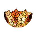Golden Leaf Motif Single Head Wall Light with Semi-Circle Art Glass Shade 12 Inch Width