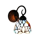 Dragonfly Wall Lamp Tiffany Style Stained Glass Wall Sconce in Rubbed Bronze for Bathroom