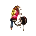 Parrot Shade Wall Lamp Lodge Tiffany Style Stained Glass Pull Chain Wall Sconce in Red