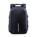 Simple Chic Colorblock Casual Zip Closure Backpack School Bag