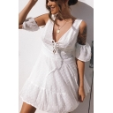 Sexy Short Sleeve Cold Shoulder V Neck White Lace Up Front Plain Mini A-Line Dress