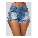 Sexy Cutout Lace-Up Side Ripped Detail Frayed Hem Hot Denim Shorts
