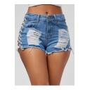 Sexy Cutout Lace-Up Side Ripped Detail Frayed Hem Hot Denim Shorts
