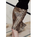 Sexy High Waist Leopard Printed Midi Pencil Gold Skirts