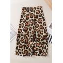 High Waist Leopard Printed Zip Fly Midi A-Line Dress