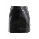 New Arrival Street Style Black Zip Back Solid PU Mini Bodycon Skirt
