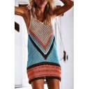Trendy Colorblock V-Neck Sleeveless Hollow Out Blue Bikini Cover Up