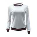 Trendy Striped Trimmed Round Neck Long Sleeve Cotton Casual T-Shirt