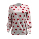 Fancy All Over Heart Pattern Round Neck Long Sleeve Pullover Cotton T-Shirt
