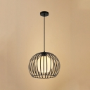 Inner Frosted Shade Orb Pendant Lamp Industrial Style Iron Dome Shade Single Ceiling Pendant