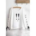 Cartoon Rabbit Printed Long Sleeve Round Neck Lace Up White Sweatshirt