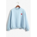 Mock Neck Heart Printed Long Sleeve Loose Sweatshirt
