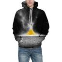 New Trendy 3D Space Astronaut Pattern Black Unisex Hoodie