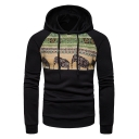 Popular Black Elephant Print Long Sleeves Pullover Hoodie for Men