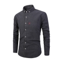 Classic Stripes Printed Long Sleeve Lapel Collar Button Down Slim Shirt