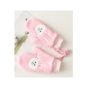 Warm Plush Cartoon Bunny Printed Thick Mittens Cycling Gloves with String