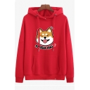 Funny Cartoon Dog Letter Printed Long Sleeve Leisure Simple Hoodie