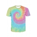 Fashion Tie Dye Print Crew Neck Short Sleeve Casual T-Shirt