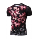3D Floral Printed Short Sleeve Round Neck Red Leisure Tee