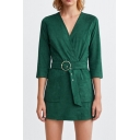 Women's Simple Solid Green V-Neck Wrap Front Belted Double Pockets 3/4 Sleeve Slim Romper