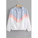 Colorblock Long Sleeve Zip Placket Elastic Hem t Light Blue Coat