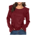 Elegant Burgundy Solid Ruffle Design Long Sleeves Round Neck Fashion Tee Top