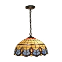 Dome Pendant Lamp Baroque Tiffany Style Stained Glass 2 Light Suspended Light in Blue
