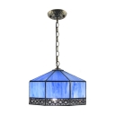 Nautical Tiffany Geometric Drop Lamp Stained Glass Single Light Hanging Lamp in Navy Blue