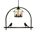 House Design Hanging Light Tiffany Style Stained Glass 1 Head Suspended Lamp in Multicolor