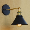 Conical Mini Wall Light Industrial Metal 1 Light Wall Lamp in Antique Brass for Hallway