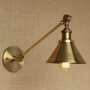 Coolie Shade Wall Light Vintage Steel 1 Bulb Wall Lamp in Antique Brass for Study Room