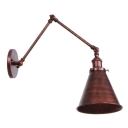 Adjustable Conical Wall Sconce Industrial Metal 1 Light Wall Light in Rust for Bedroom