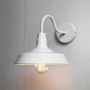 White Finish Gooseneck Wall Lamp Industrial Steel 1 Bulb Wall Light Fixture for Bedroom