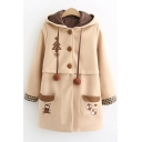 Khaki Long Sleeve Bunny Embroidered Plaid Single Breasted Hooded Woolen Tunics Coat
