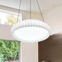 Contemporary Aluminium Alloy LED Light Pendant Fixture White Finish Round Shade Hanging Light