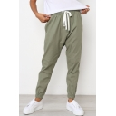 Leisure Plain Elastic Drawstring Waist Cropped Pants for Girls