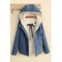 Winter's New Arrival Long Sleeve Hooded Zip Up Basic Solid Cotton Coat
