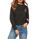 Long Sleeve Round Neck Stripes Printed Black Slim Sweatshirt