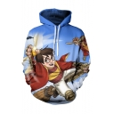 Hot Sale Long Sleeve Cartoon Character Printed Unisex Blue Hoodie