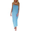 Hot Fashion Basic Solid Scoop Neck Sexy Open Back Maxi Beach Tank Dress