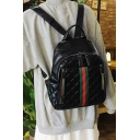 Simple Classic Red and Green Striped Dual-Access Zippers Black PU Backpack